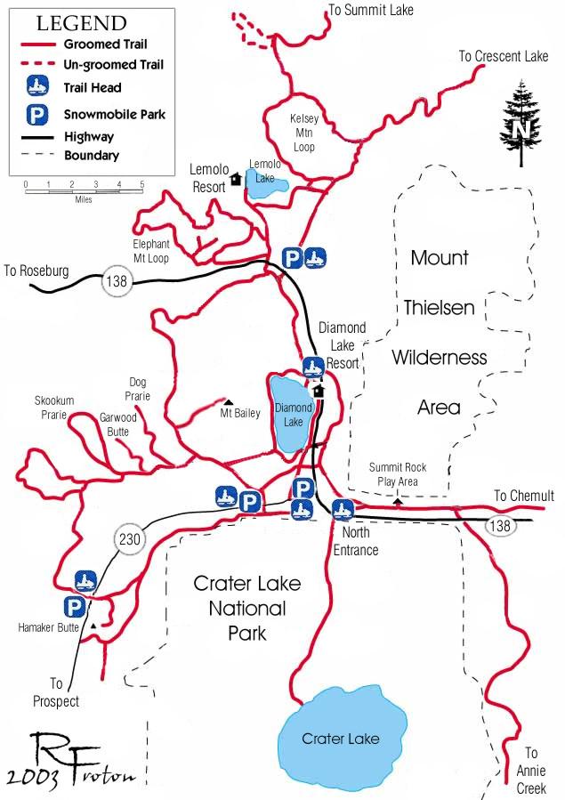 Snowmobiling North Klamath County - Oregon hiking trails map